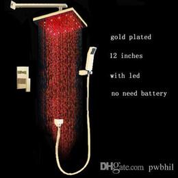 Wholesale Gold Faucet Bath - gold color brass shower set 12 inches 2 lever led rain shower gold bath faucet mixer