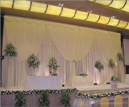 Wholesale Christmas Decorations For Cakes - 3M*6M White ice silk wedding backdrop curtain with swags Wedding Props Satin For Wedding Birthday Evening Party Decoratiion