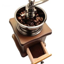 Wholesale Wooden Coffee Grinders - Classical Wooden Mini Manual Coffee Grinder Stainless Steel Retro Coffee Mill High quality Porcelain Movement