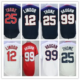 Wholesale Dry Goods - 2017 Cleveland Jerseys Baseball 12 Francisco Lindor Blue White Grey Throwback 99 Ricky Vaughn 25 Jim Thome Shirts Good Quanlity