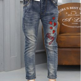 Wholesale 14 Slim Jeans - Girls Denim Jeans New 2017 Children's Jeans Trousers Autumn and Spring Big Children's Denim Slim Pant Size4-14 Jeans ly333
