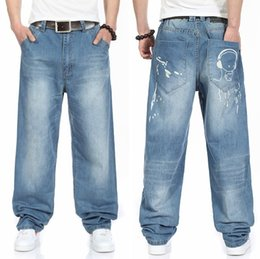 Wholesale Baggy Jeans Fashion Men - men's rock Skateboard HIP HOP jeans 2016 new baggy jeans HIGHT QUALITY designer brands man trousers