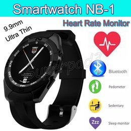 Wholesale Thin Vibrators - Ultra-thin NB-1 Bluetooth Smart Watch Heart Rate Monitor Motion Vibrator Anti-lost SMS Call Reminder Smartwatch Sync iOS Android Smartphone