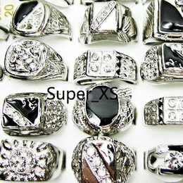 Wholesale Men Silver Rings Stone - Fashion Enamel Silver Plated Finger Rings Lot For Men Wholesale Jewelry Bulk Packs LR009 Free Shipping