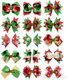 Wholesale Big Hair Fabric Bow Clip - 15 styles Christmas Ornaments Big Bowknot Hairpin Headdress Hairpin Christmas snowflake Bow Hair Clip