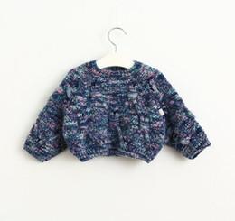Wholesale Kids Short Wings - New Autumn Baby Girls Short Sweater Kids Children Bat-wing Sleeve Knitted Tops Pullovers Girls Knitwear Sweaters