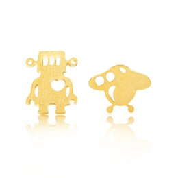 Wholesale Planet Earrings - Wholesale 10Pcs lot 2017 High Quality Jewelry Fashion Stud Earrings 925 Silver Happy Planet and Robot 18K Gold Earrings For Women