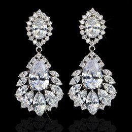 Wholesale Bridal Earrings Diamond Chandelier - 3 layers real 18k white gold plated 5A grade CZ zirconia diamond brilliant luxury crown bridal dangle earrings for wedding and party