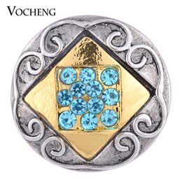 Wholesale Square Metal Buttons - NOOSA Ginger Snap 2 Colors Square Inlaid Crystal 18mm Metal Snap Button VOCHENG Vn-1090