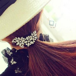 Wholesale Gold Flower Hair Comb - 1pc New Fashion cute Flower Rhinestone Hair Clip Comb Hairpin Barrette C00155 OST