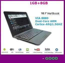 Wholesale Pink Mini Laptop Webcam - 10.1 inch mini Student Netbook Android 4.4.2 Wifi Laptop VIA8880 Dual-Core 1.5GHZ 1G RAM 8GB ROM