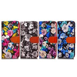 Wholesale Iphone Case Pearls Flip - Flower Floral Rose Flip Wallet Leather Case For Iphone 7 Plus I7 Iphone7 Fashion Pearl Grain Peony Cards Stand Pouch TPU Phone Cover 50pcs