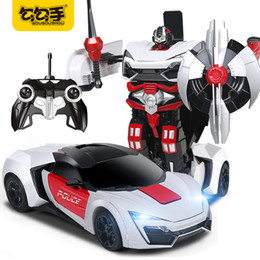 Wholesale Battery Cars For Kids - GouGouShou Kids 2 in 1 Transformation Sports Car Remote Control Deformation Fighting Robot Model Toy For Children Boy Gift 2317P