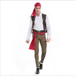 Wholesale Caribbean Performance Costumes - 5Pcs Lot By DHL New Arrival Pirates Of The Caribbean Captain Jack Sparrow Cosplay Halloween Costumes Game Performance Clothing Hot Sale