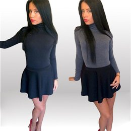 Wholesale Back Zipper Turtleneck - New Fashion 2016 women sexy skinny jumpsuits turtleneck full sleeve back zipper hot shorts solid all-match brief slim rompers TM765