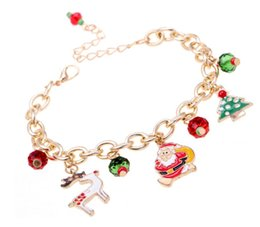 Wholesale Cheap Christmas Reindeer - 10pcs lot cheap Link Chain Animal Christmas Tree Bracelet for Women Fashion Animal Bird reindeer Charm alloy Bracelets Party Gift