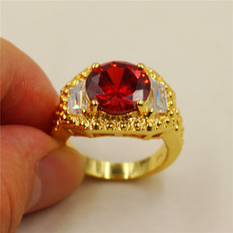Wholesale man yellow diamond ring - 18K Yellow Gold Filled Round Ruby Sapphire CZ Simulated Diamond Carving Craft Ring for Men