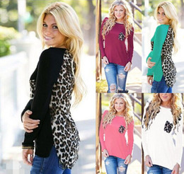 Wholesale Fashion Cotton T Shirts Women - Women Leopard Long Sleeve Top Casual T-Shirt Ladies Loose Sexy Tees Loose Spring Autumn Clothing Wear