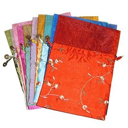 Wholesale Satin Drawstring Favor Bags - Embroidered Fruit Patchwork Organza Gift Bags Birthday Party Favor Bags Satin Fabric Drawstring Lavender Packaging Pouch Sachet Tea Bags