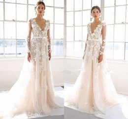 Wholesale Handmade Long Skirts - Marchesa 2017 3D Floral Long Sleeve Wedding Dresses Modest Fashion Plus Size Princess Dubai Arabic Handmade Flower Castle Bridal Dress