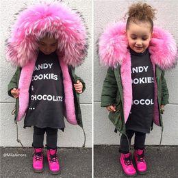 Wholesale 5t Girls Fur Coats - Winter Outerwear Kids Parkas Faux Fox Fur Liner Detachable Baby Coats Thicken Warm Toddler Boys Girls Clothes Black Red