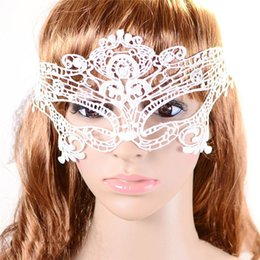 Wholesale Costume Theatre - Wholesale-Sexy Lady White Butterfly Halloween Masquerade Lace Costumes Theatre Mask Xmas