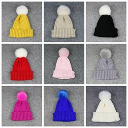 Wholesale Kids Winter Fur Hats - Children Autumn Winter Hats Fur Pom Poms Warm Knitted Beanies Kids Solid Color Colorful Cap For Girs Boys free shipping