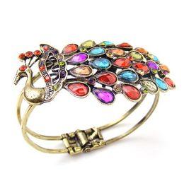 Wholesale Seaside Bracelets - Retro Colorful Alloy Peacock Diamond Bangle Bohemia Seaside Style Bracelet Colorful Bling Crystal Metal Peacock Bracelet