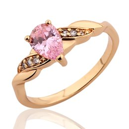 Wholesale Crystal Fashion Drop - New Fashion Journey Rings 18K Gold Plated Charming Water Drop Cut Pink Zirconia Crystals CZ Band Ring For Women High Quality RS105