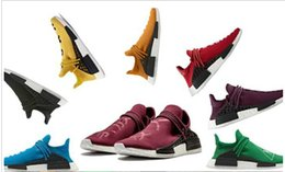 Wholesale Family Fabrics - Hot Human Race Friends and Family Eur 36-45 Wine Red Pharrell Williams X NMD Top Originals BOOST Mens Running Shoes for men sports sneakers