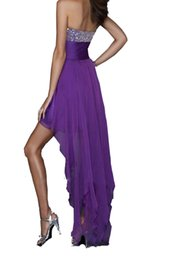 Wholesale Lilac Ties - Red Hi-Lo Prom Dresses Short Beaded Crystal Chiffon Evening Dressses Strapless Tiered Tied Waist Party Gowns Backless