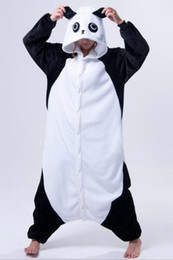 Wholesale Flannel Pajamas Movie - 2017 Adults Flannel Onesie Panda Animal Pajamas Hooded Cosplay Costumes Unisex Pajama sets Party Cute Cartoon men Women Pajamas