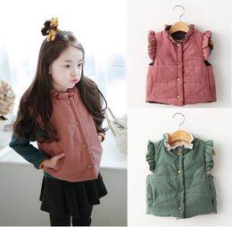 Wholesale Pink Coat Flared - 2016 Autumn Winter New Girl Waistcoat Flare Sleeve Thick Vest Reversible Fashion Coat Children Clothing W039