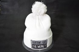 Wholesale Money Hats - Wholesale Queens Get The Money Beanies Black White with Pom Pom Beanies Fashion Winter Hats AAA Quality Accept Mix Order