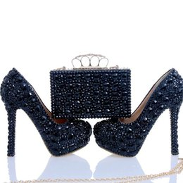 Wholesale Crystal Clutch Shoes - Black Crystal Bridal Dress Shoes with Clutch Rhinestone Wedding Party Shoes Cinderella Prom Pumps Sexy Nightclub Party Heels
