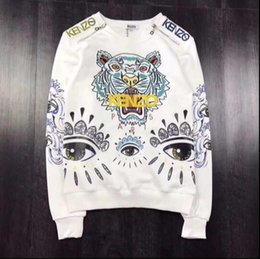 Wholesale Hoodie Tiger White - 2018 new Mens Stripe Hoodies Sleeve Tiger Embroidered sweatshirt Side Double Zipper Tiger Pattern OFF White Virgil Abloh skateboard Sweater