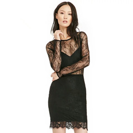Wholesale Lace Top Solid Pencil Dress - 2016 Autumn Ladies Lace Patchwork Sexy Perspective Deep V Tube Top Slim Hip Long-sleeve Black Nightclub Party Dresses Women Europe