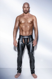 Wholesale Open Crotch Pants Men - Men's GAY Exotic Sexy Fetish Club PVC Muscle Tights Open Crotch Pants Trousers 6722