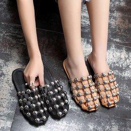 Wholesale Caged Heels - 2017 Runway grid pattern crystal Sandalias Mules Luxury Slip On Beading Caged Amelia Metal Dome Studded Flat Slide Sandals Shoes Women