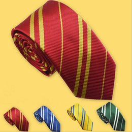 Wholesale Harry Potter Striped Tie - Harry Potter Ties Hogwarts Gryffindor Slytherin Ravenclaw Hufflepuff Zipper Striped Necktie Halloween Christmas Cosplay Gift For Children