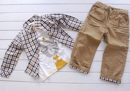 Wholesale Great Kids Clothes - Great quality Vintage Three Pieces Suit Children Clothing 2016 European Style Plaid Shirt Jeans Coat Baby Boys Clothes Sets Kids Outf