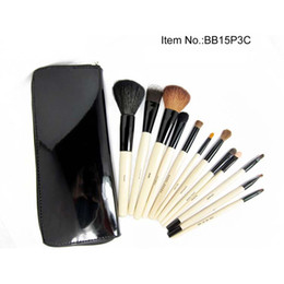 Wholesale Goat Fashion - Free Gift!!!New Fashion 16 PC Cosmetic Make up Brush Set Tools with Purple red black Leather Case (50pc