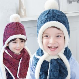 Wholesale Kids Knitted Hats Set - 2016 New Winter Kids Warm Twist Knitting Earflap Hat 2pc sets Rabbit hair Pompon hat+warm scarf Children Autumn warm Accessory 2-8T