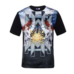 Wholesale T Shirts Flower Men - tshirt Summer tops for men glossy rayon printed golden flowers 3d t-shirt palace religious slim style tee shirts 10 models