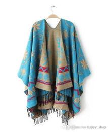 Wholesale Poncho Cape Dress - Brand Fashion Womens Autumn Warm Flower Pattern Slit Wool Blend Plaid Blanket Scarves Cloak Poncho Cape Coat Tassel Scarf Dress Shawls