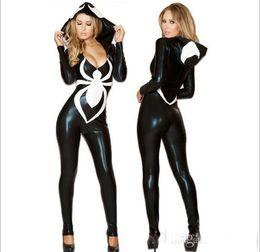 Wholesale Sexy Zentai Girl - Spider Women Costume Black Zentai Suit Sexy Costumes Women Halloween hot selling Girl Hoodie Venom Spiderman Jumpsuit