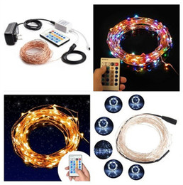 Wholesale flash key - New 100 LEDs 33 ft Copper Wire String Light Christmas Party Fairy Light 10M Dimmable LED String Light with key remote 10 levels brightness