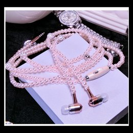 Wholesale Nice Pearl Necklace - Nice Rhinestone Jewelry Pearl Necklace Earphones With Microphone Pink Girl Earbuds Headphone For Iphone HuaWei XiaoMi Best Girft