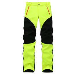Wholesale Thermal Outdoor Pants Women - Wholesale-Genuine Female Outdoor Sport Stretch Fleece Trousers Thick Thermal Waterproof Windproof Soft Shell Hiking And Climbing Pant