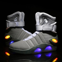 Wholesale Rubber Backs - AIR MAG Back Future led shoes high top Marty mCfLy Colorful Led Shoes For men Luxury Grey Black charger Mag Limited Edition Sneaker